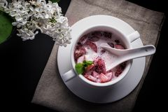 点心、草莓与奶油和薄菏切片,白色板材,黑背景,顶视图 库存照片