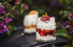 点心提取乳脂用草莓和普通话 免版税图库摄影