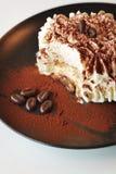 点心时间乳脂状的提拉米苏蛋糕 免版税库存照片