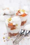 点心用罐装桃子,打好的奶油,蛋白甜饼,垂直 免版税图库摄影