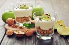 点心用酸奶和格兰诺拉麦片 免版税图库摄影