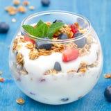 点心用酸奶,格兰诺拉麦片,新鲜的莓果,特写镜头 库存照片