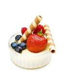 点心草莓酸奶 免版税图库摄影