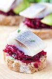 点心鲱鱼用在黑麦的甜菜敬酒,伏特加酒的开胃菜 免版税库存图片