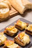 点心,开胃菜用烤咸味干乳酪 免版税库存照片