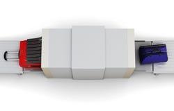 点检查行李扫描器 顶视图 3d翻译 库存例证