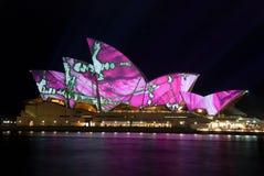 点燃光亮歌剧悉尼的创造性的房子 免版税图库摄影