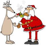 点燃圣诞老人的罐管子的驯鹿 库存图片