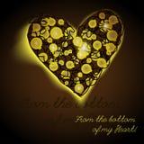点燃心脏在棕色背景圣诞节诗歌选的串电灯泡 库存照片