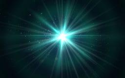 点燃数字式蓝色透镜火光摘要在黑暗的背景中 皇族释放例证