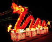 点燃新年度的中国龙 库存图片