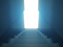 点燃概念性场面的楼梯狭窄的街道 库存照片