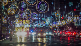 点燃2016年的布加勒斯特圣诞节 库存图片