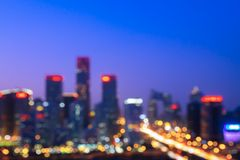 点燃CBD大厦区的风景虚焦点在北京,中国 图库摄影
