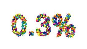 点由五颜六色的球形做百分之三 免版税库存图片