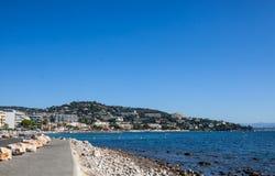 点的Croisette棕榈滩在戛纳,法国 免版税库存图片
