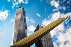 终点站插孔和世界贸易中心一号大楼细节  库存照片