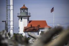点鲁宾逊公园的,Vashon海岛灯塔 免版税库存照片