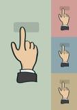 点击的手指姿态传染媒介动画片 库存图片