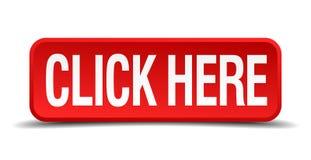 点击这里红色三维方形的按钮 免版税库存照片