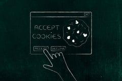 点击Accept曲奇饼突然出现消息的手 库存图片