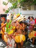 点Pitre,瓜德罗普- 2013年2月09日:加勒比狂欢节的美丽的黑人女孩 库存照片