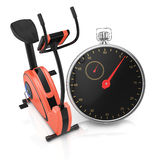 锻炼脚踏车和秒表 免版税库存照片