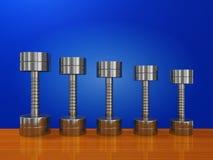 锻炼钢哑铃行在木板条的 向量例证