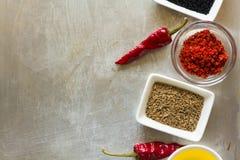炽热辣椒荚豌豆、盐、油、辣椒粉、小茴香籽和海湾叶子在灰色葡萄酒金属化烹饪背景 库存图片
