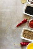 炽热辣椒荚豌豆、盐、油、辣椒粉、小茴香籽和海湾叶子在灰色葡萄酒金属化烹饪背景 免版税库存照片