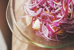 烂醉如泥的红洋葱,大致切,用柠檬和大蒜在玻璃盘,顶视图 库存照片