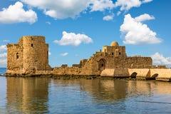 烈士海城堡Sidon赛达南黎巴嫩 免版税图库摄影