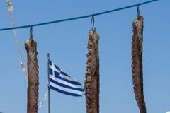 烘干在自然阳光的章鱼触手 健康和鲜美 免版税库存照片