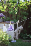 烘干在绳索的玩具熊和玩偶礼服在夏天从事园艺 库存照片