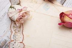 烘干玫瑰色和老信函 图库摄影