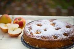 烘烤与苹果iin秋天的苹果饼 图库摄影