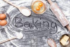 烘烤和烹调成份概念、品种和器物 免版税库存图片