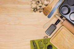 烘烤和酥皮点心工具 库存图片