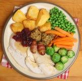 烘烤土耳其圣诞晚餐 库存图片