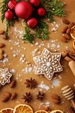 烘烤圣诞节曲奇饼重点月亮塑造星形 库存图片