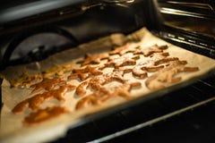 烘烤在烤箱的曲奇饼 做姜饼曲奇饼系列 免版税库存图片