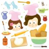 烘烤女儿母亲 免版税库存照片
