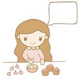烘烤您的文本的女孩蛋糕白色泡影 免版税库存图片