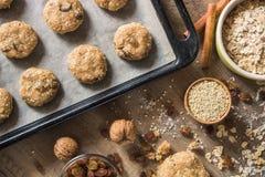 烘烤成份的构成麦甜饼的 库存图片