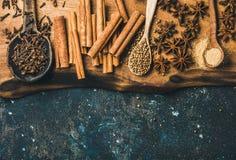 烘烤或烹调的被仔细考虑的酒冬天温暖的香料 库存照片