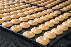 烘烤曲奇饼生产线在工厂的,食品工业,特写镜头 免版税库存图片