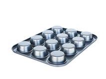 烘烤松饼盘子第12个孔 不粘锅的涂层 隔绝在wh 库存照片