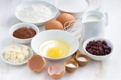 烘烤的新鲜的成份在一张白色桌上 库存照片