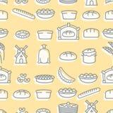 烘烤的无缝的样式 为新鲜的面包店设置的标志 面包和w 库存图片