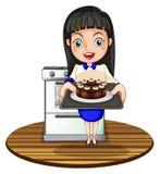烘烤蛋糕的女孩 向量例证